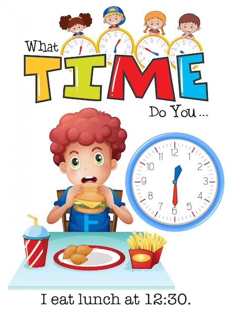 Un niño almorzando a las 12:30 vector gratuito