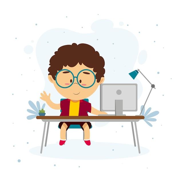 Niño aprendiendo a través de lecciones en línea vector gratuito