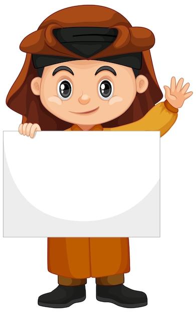 Niño árabe sosteniendo pancarta en blanco vector gratuito