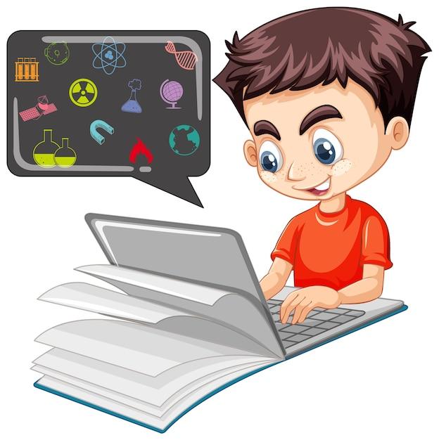 Niño buscando en la computadora portátil con el icono de educación aislado vector gratuito