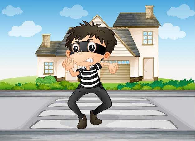 Un niño y una casa vector gratuito