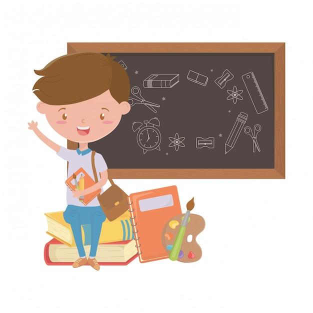 Niño chico de diseño escolar Vector Premium