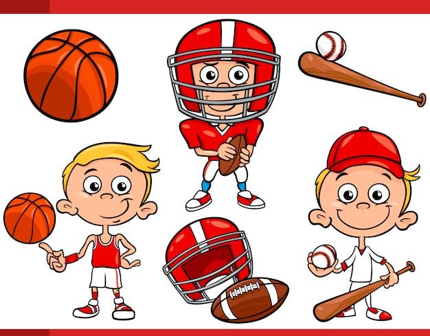 Niño con equipo de deporte conjunto de dibujos animados | Descargar ...