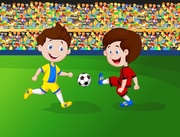 Niño De Dibujos Animados Jugando Al Fútbol