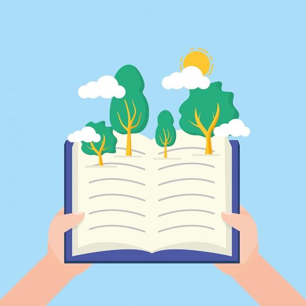 Niño en el día mundial del libro vector gratuito