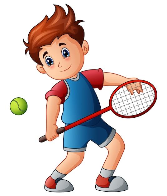 Vector Premium Nino De Dibujos Animados Jugando Tenis