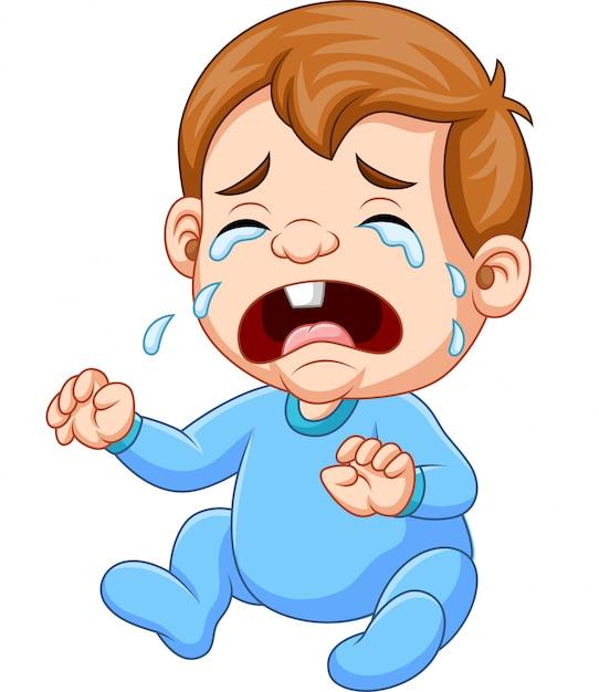 Niño de dibujos animados llorando Vector Premium