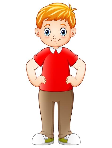 Niño De Dibujos Animados De Pie Y Tomados De La Mano En Las Caderas