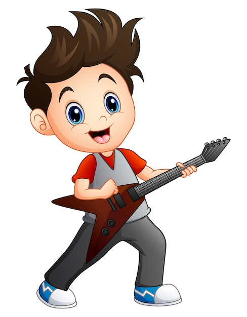 Niño De Dibujos Animados Tocando La Guitarra Eléctrica Descargar