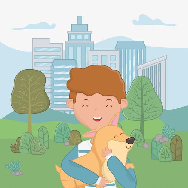Niño con diseño de dibujos animados de perro vector gratuito