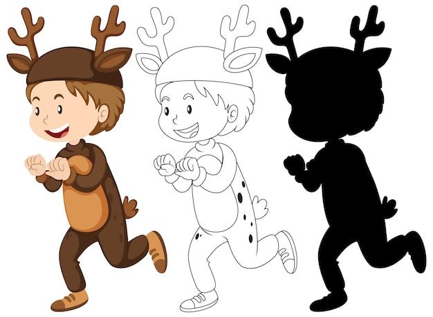 Niño con disfraz de ciervo en color y contorno y silueta vector gratuito