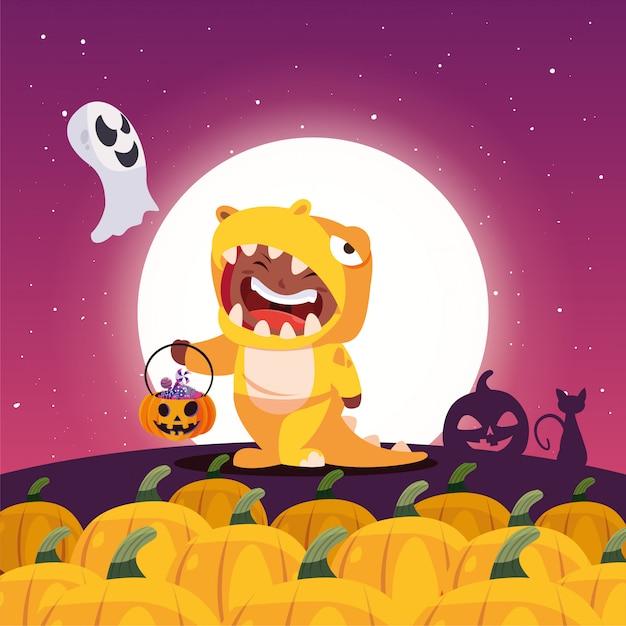 Niño disfrazado en escena de halloween Vector Premium