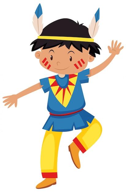 Niño disfrazado de rojo indio vector gratuito
