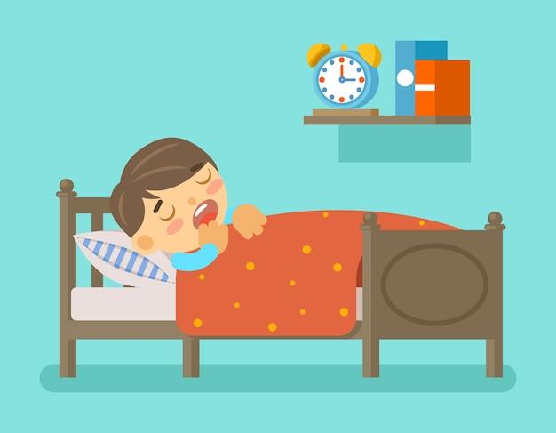 Niño durmiendo en la cama. hora de acostarse y habitación con niño pequeño. vector gratuito
