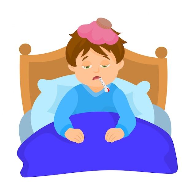 Niño enfermo en la cama con un termómetro en la boca Vector Premium