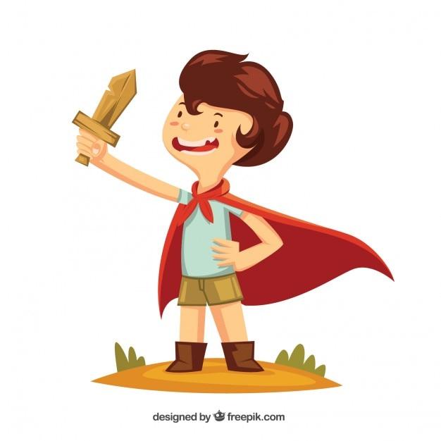 Niño con una espada de madera y una capa vector gratuito