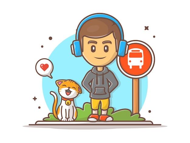 Niño esperando autobús con ilustración de gato feliz Vector Premium