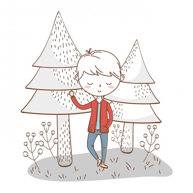 Niño con estilo traje de dibujos animados naturaleza Vector Premium