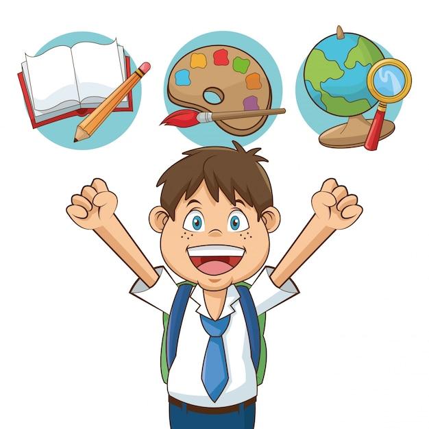 Niño estudiante de dibujos animados con suministros | Vector Premium