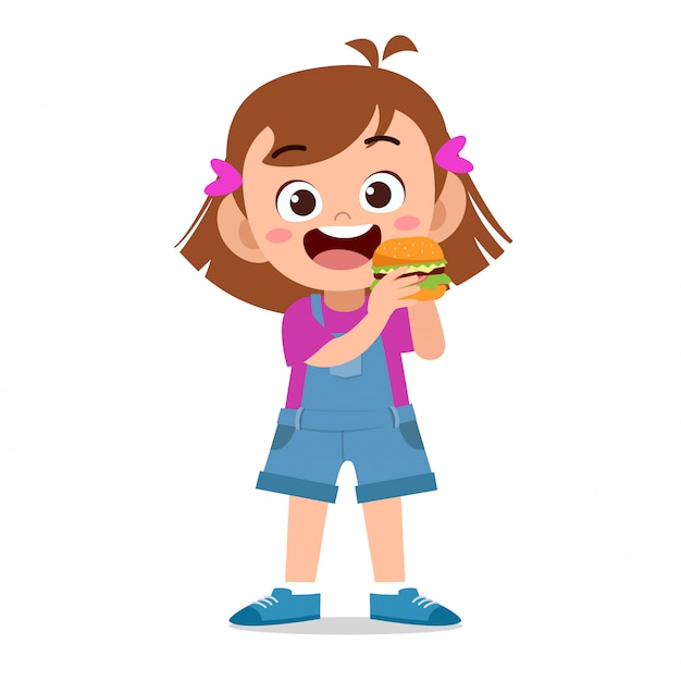 Niño feliz comiendo Vector Premium