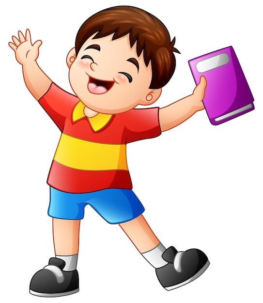 Niño Feliz De Dibujos Animados Sosteniendo Un Libro Descargar
