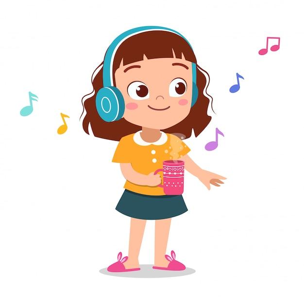 Niño feliz escuchando música Vector Premium