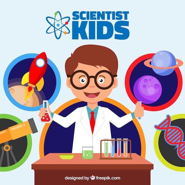 Niño feliz en el laboratorio vector gratuito