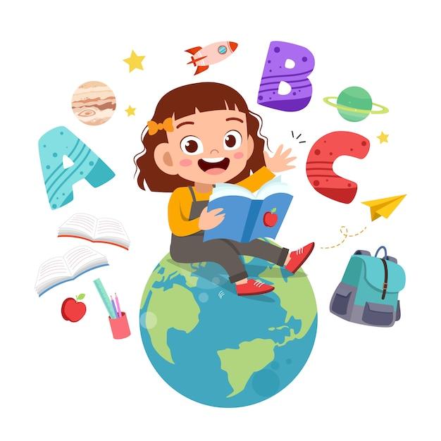 Niño feliz lee libros sobre el globo terráqueo Vector Premium