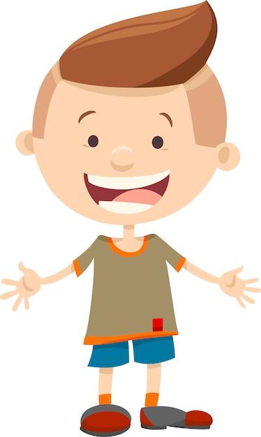Niño feliz personaje de dibujos animados niño | Vector Premium