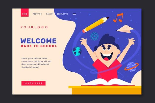 Niño feliz regreso a la página de inicio de la escuela vector gratuito