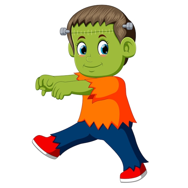 Niño frankenstein de dibujos animados Vector Premium