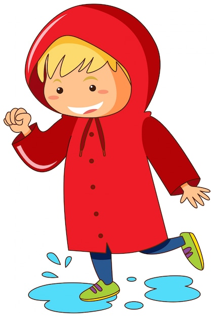 Niño con impermeable rojo saltando en charcos vector gratuito
