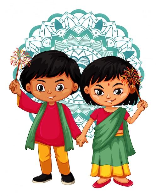 Niño indio y niña con diseño de mandala vector gratuito