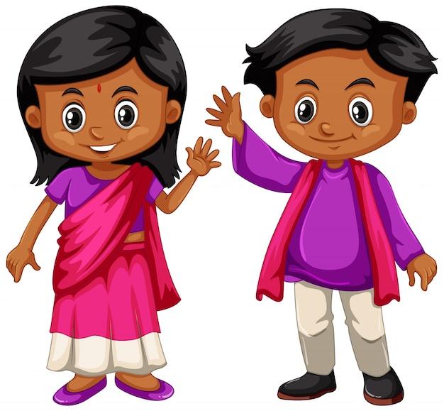 Niño indio y niña sonriendo vector gratuito
