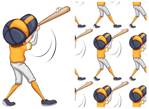 Niño jugando béisbol aislado en blanco vector gratuito