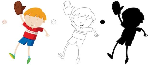 Niño jugando béisbol con su contorno y silueta vector gratuito