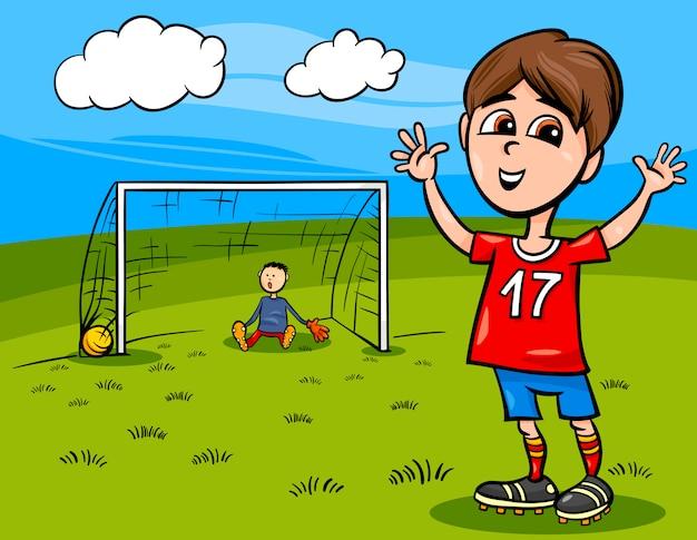 Niño Jugando Fútbol Dibujos Animados Ilustración