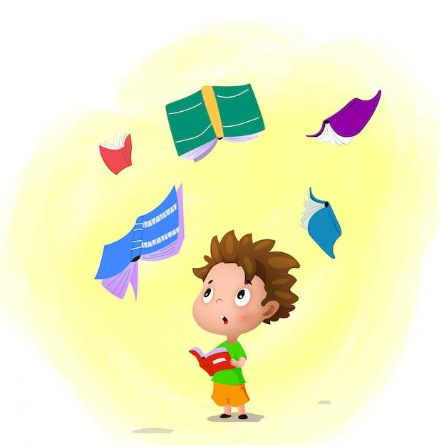 Niño leyendo un libro mágico Vector Premium