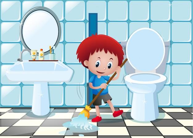 Ni o limpieza cuarto de ba o piso descargar vectores for Como limpiar bien el bano