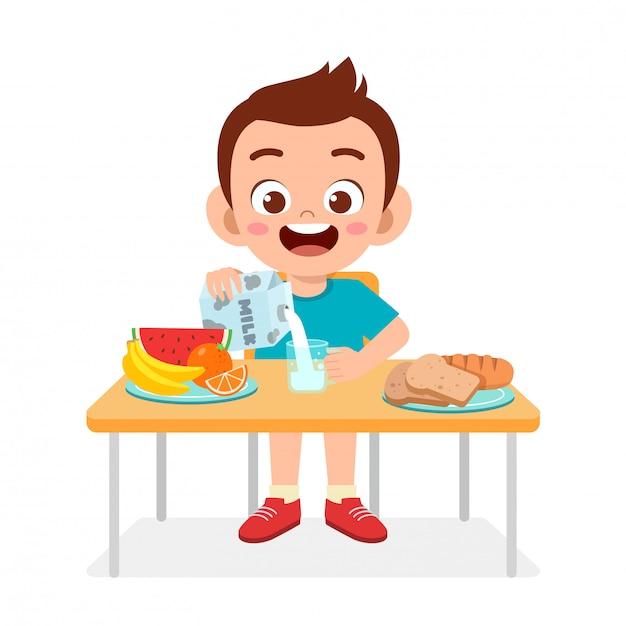 Niño Lindo Niño Feliz Comer Alimentos Saludables Vector Premium