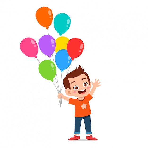 Niño lindo niño feliz correr con globo Vector Premium