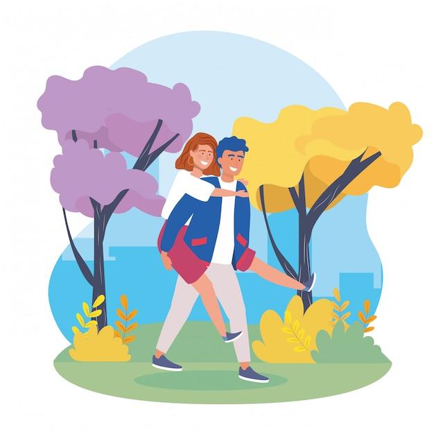 Niño llevando a la pareja de chicas en la espalda con ropa casual. vector gratuito