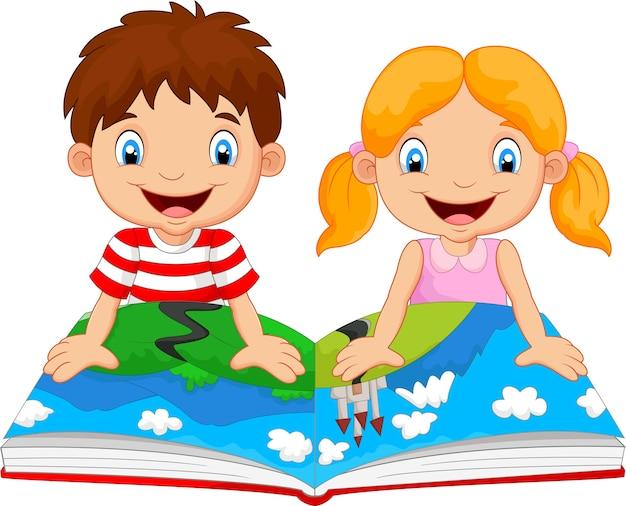 Niño Y Niña De Dibujos Animados Fueron Lecturas De La