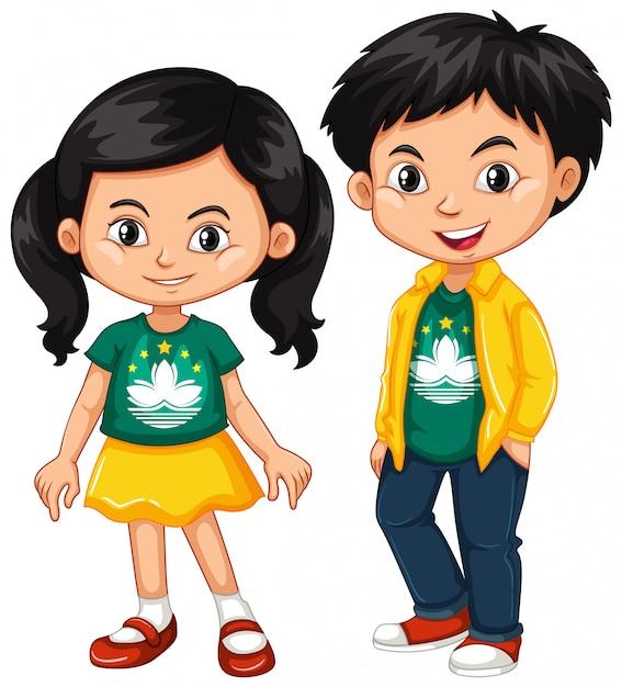 Niño y niña felices vistiendo camisa con la bandera de macao vector gratuito