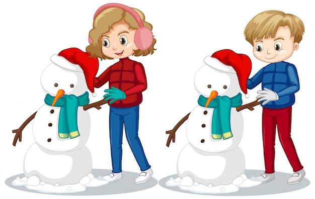Niño y niña haciendo muñeco de nieve en el campo de nieve vector gratuito