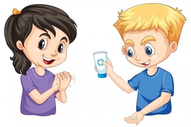Niño y niña lavándose las manos con gel de manos vector gratuito