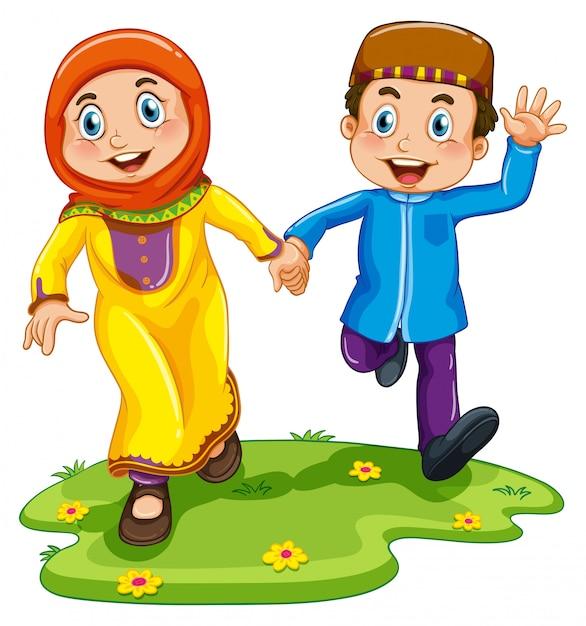 Niño y niña musulmanes vector gratuito