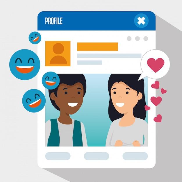 Niño y niña con perfil de chat social vector gratuito