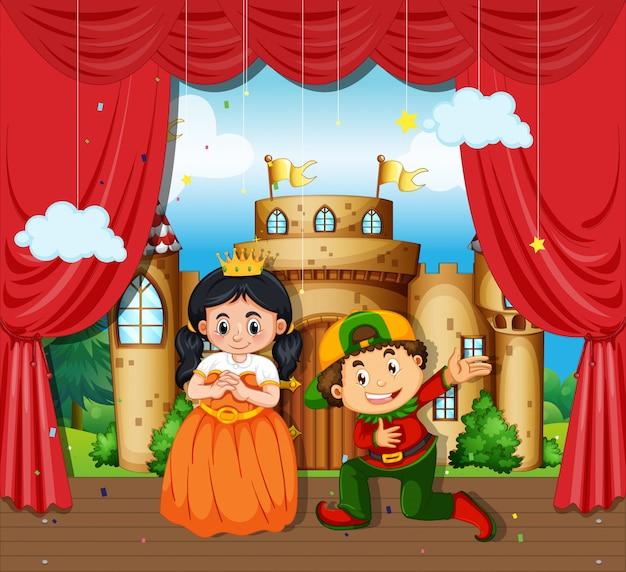 Niño y niña realizan drama en el escenario vector gratuito