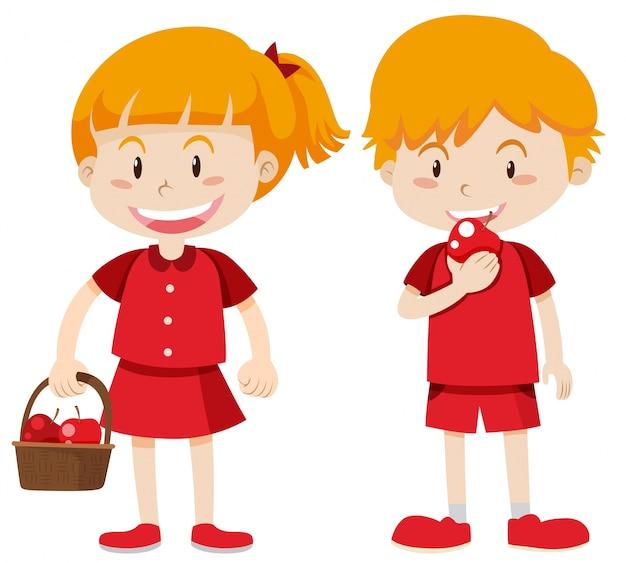 Niño Y Niña En Rojo Comiendo Manzanas Vector Gratis